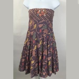 Free People Floral Tube Dress Boho Embroider Sz 2